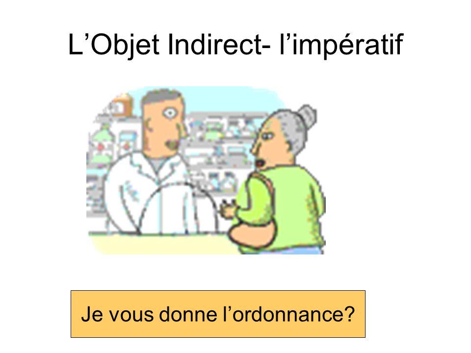 LObjet Indirect- limpératif Est-ce que je te dis le secret