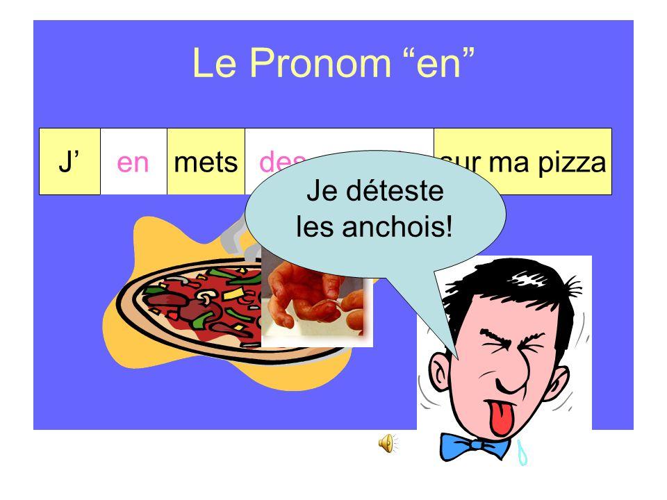 Le Pronom en Le pronom en remplace… de du de la des de l d + un nom
