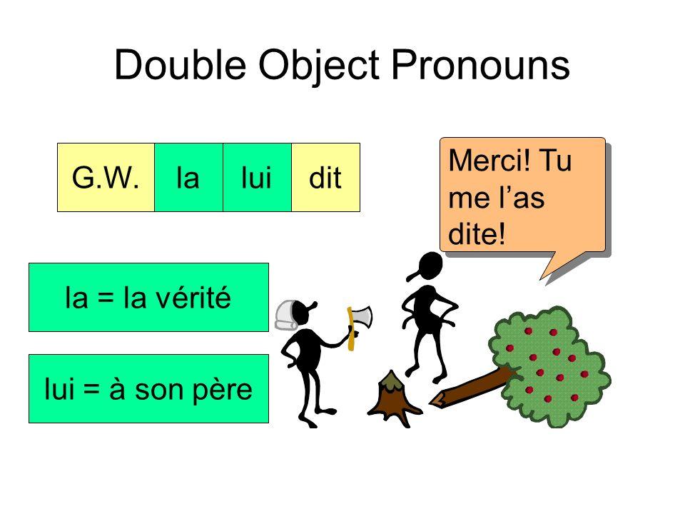 Double Object Pronouns G.W.ditla véritéà son père. Cétait moi, Papa! laluidit