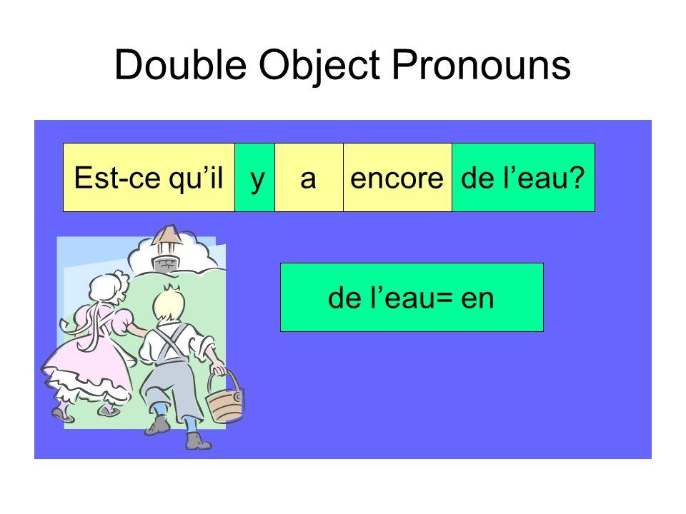 Double Object Pronouns G.W.laluidit la = la vérité lui = à son père Merci! Tu me las dite!