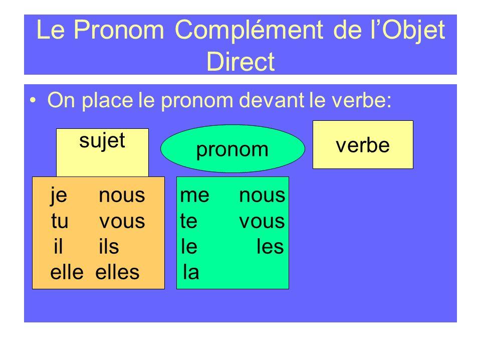 Le Pronom Complément de lObjet Direct On place le pronom devant le verbe: sujet jenous tuvous il ils elle elles pronom verbe me nous te vous le les la