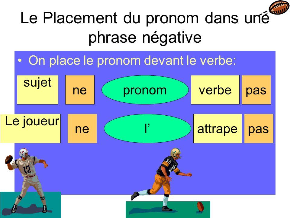 Le Placement du pronom dans une phrase négative On place le pronom devant le verbe: sujet pronomverbenepas Le joueur lattrapenepas