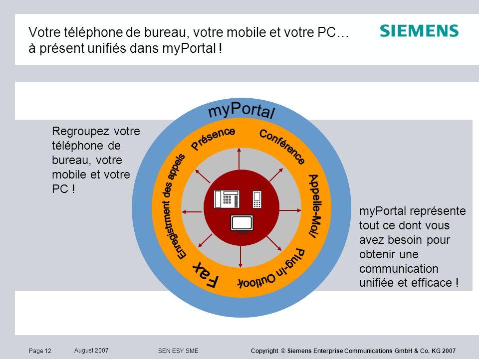 Page 12 August 2007 SEN ESY SME Copyright © Siemens Enterprise Communications GmbH & Co. KG 2007 Votre téléphone de bureau, votre mobile et votre PC…