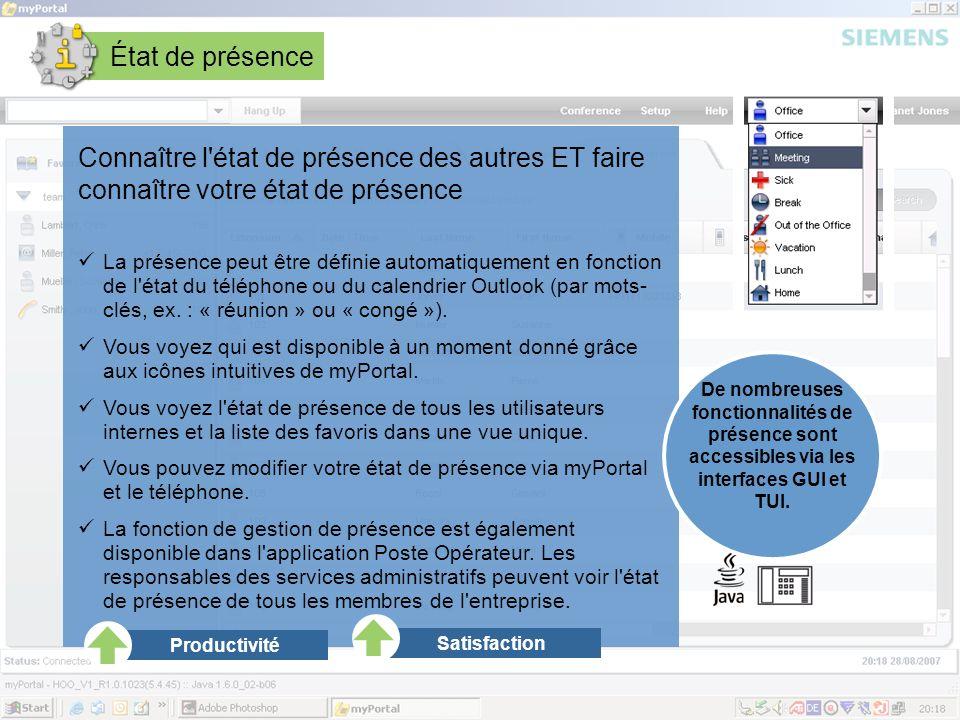 Page 14 August 2007 SEN ESY SME Copyright © Siemens Enterprise Communications GmbH & Co. KG 2007 État de présence Connaître l'état de présence des aut