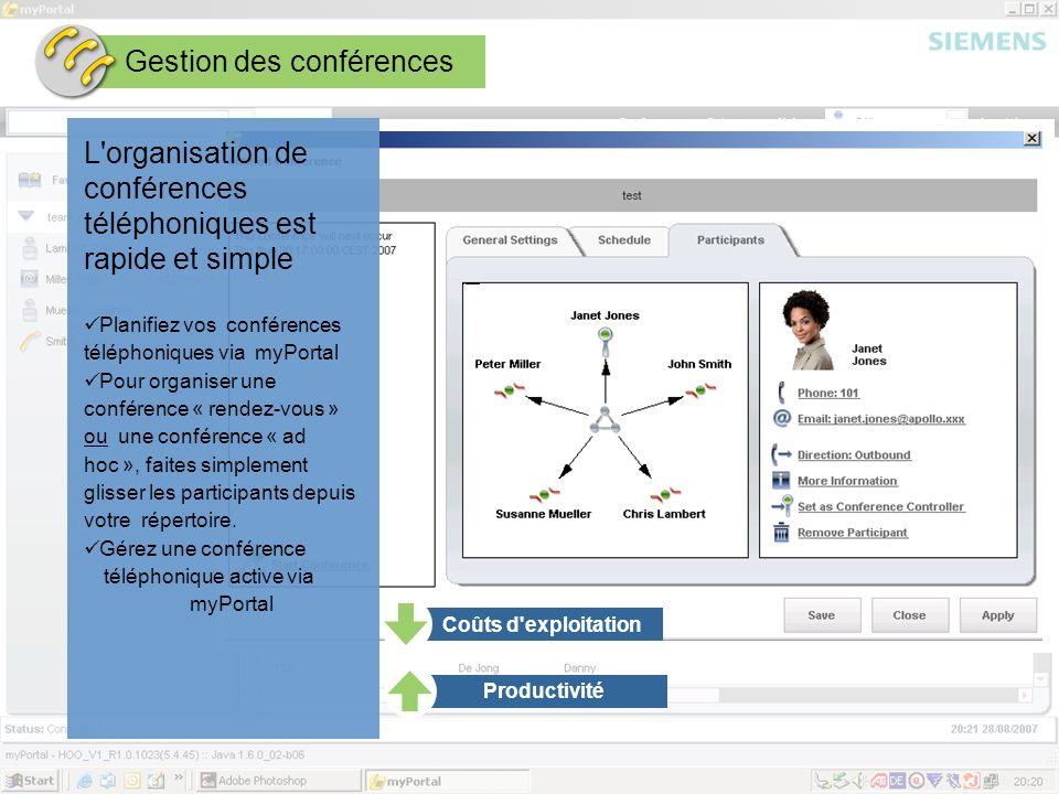 Page 15 August 2007 SEN ESY SME Copyright © Siemens Enterprise Communications GmbH & Co. KG 2007 Gestion des conférences L'organisation de conférences