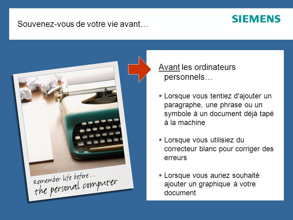 Page 2 August 2007 SEN ESY SME Copyright © Siemens Enterprise Communications GmbH & Co. KG 2007 Souvenez-vous de votre vie avant… Avant les ordinateur