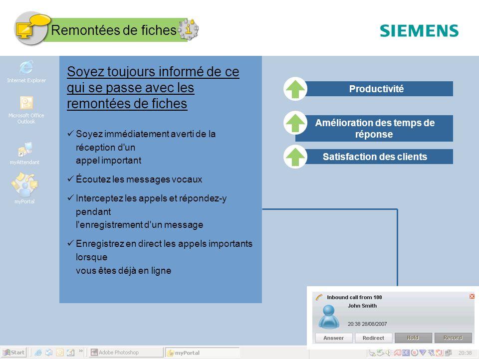 Page 27 August 2007 SEN ESY SME Copyright © Siemens Enterprise Communications GmbH & Co. KG 2007 Soyez toujours informé de ce qui se passe avec les re