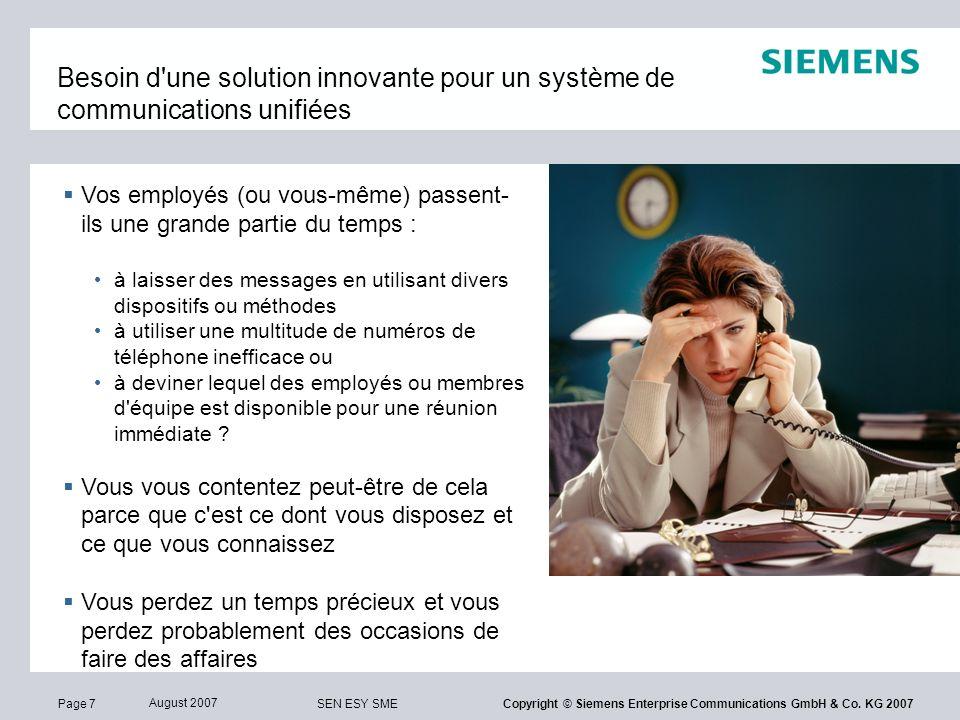 Page 38 August 2007 SEN ESY SME Copyright © Siemens Enterprise Communications GmbH & Co.