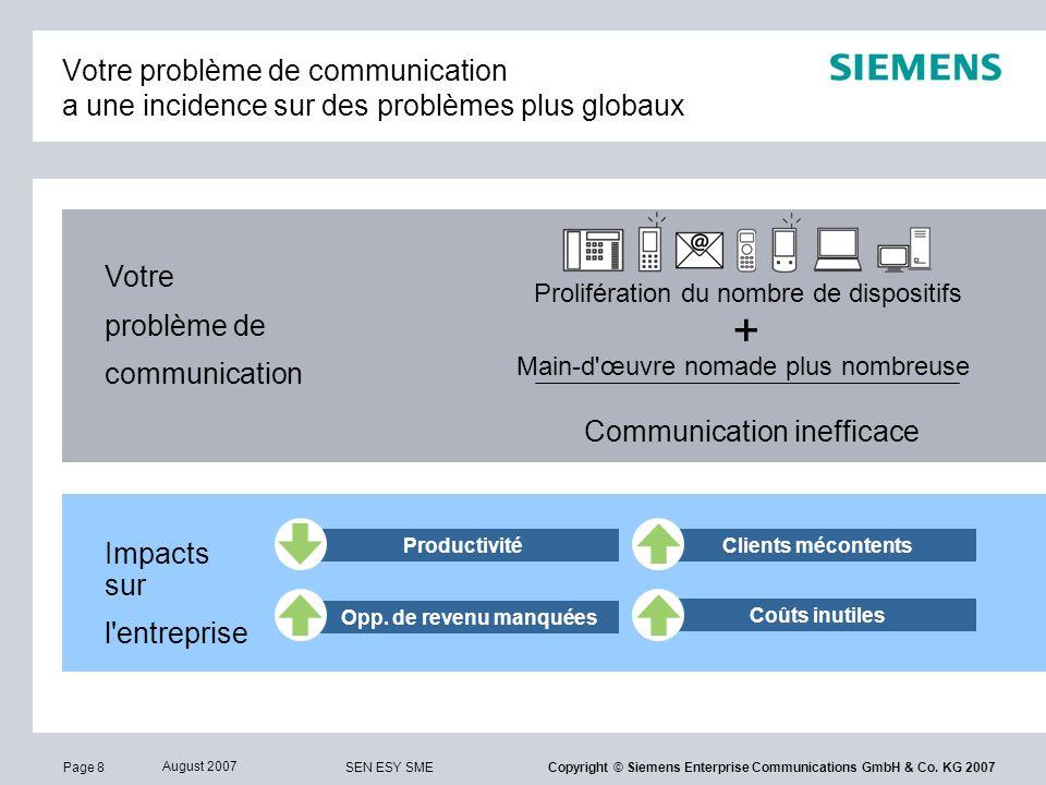 Page 39 August 2007 SEN ESY SME Copyright © Siemens Enterprise Communications GmbH & Co.