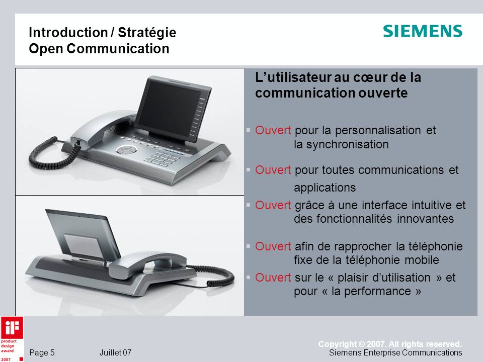 Page 5 Juillet 07 Copyright © 2007. All rights reserved. Siemens Enterprise Communications Introduction / Stratégie Open Communication Lutilisateur au