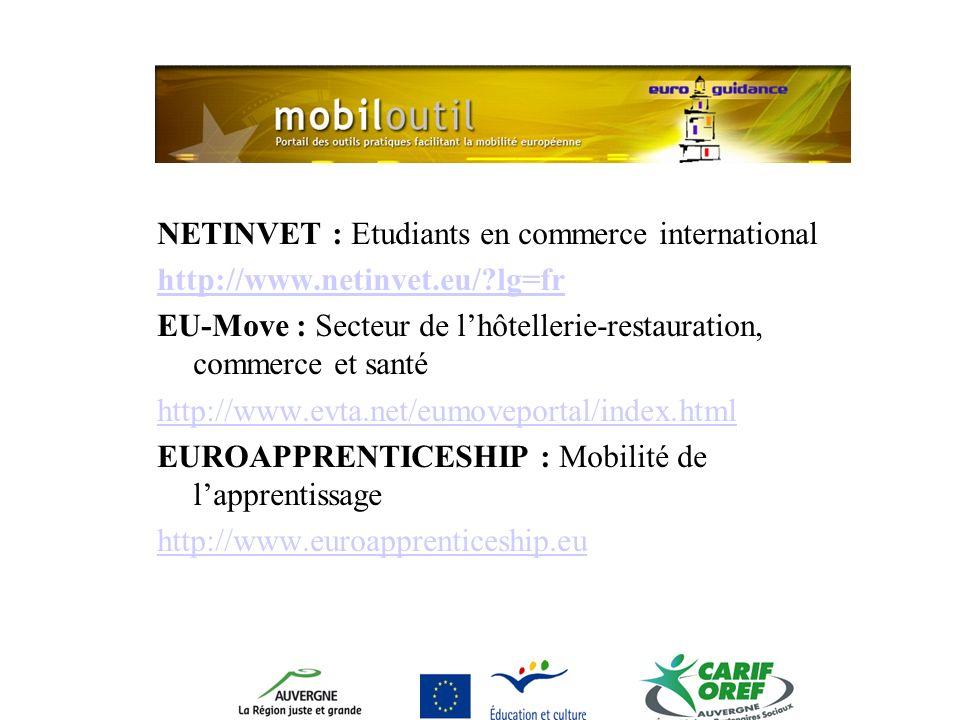 NETINVET : Etudiants en commerce international http://www.netinvet.eu/ lg=fr EU-Move : Secteur de lhôtellerie-restauration, commerce et santé http://www.evta.net/eumoveportal/index.html EUROAPPRENTICESHIP : Mobilité de lapprentissage http://www.euroapprenticeship.eu