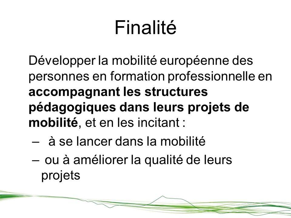 Développer la mobilité européenne des personnes en formation professionnelle en accompagnant les structures pédagogiques dans leurs projets de mobilité, et en les incitant : – à se lancer dans la mobilité – ou à améliorer la qualité de leurs projets Finalité