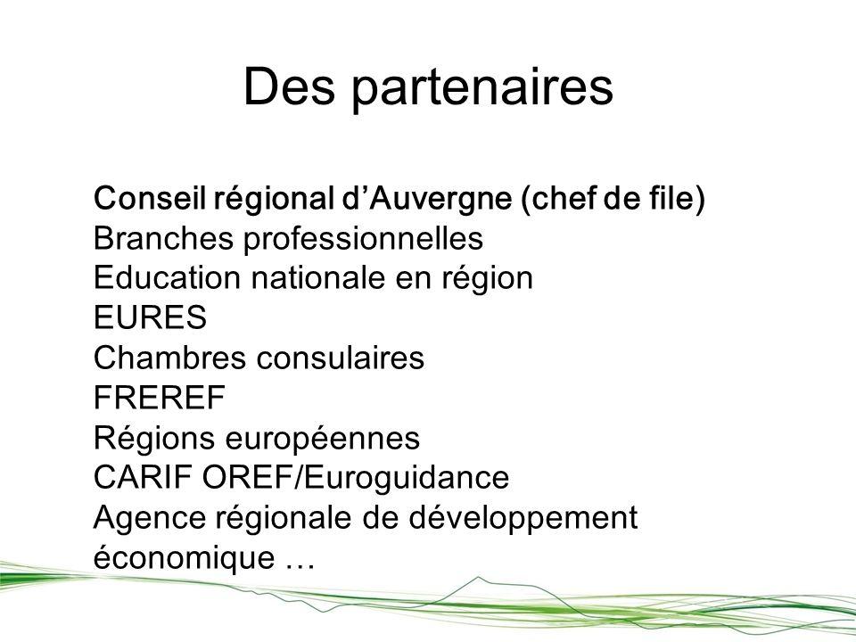 Des partenaires Conseil régional dAuvergne (chef de file) Branches professionnelles Education nationale en région EURES Chambres consulaires FREREF Régions européennes CARIF OREF/Euroguidance Agence régionale de développement économique …