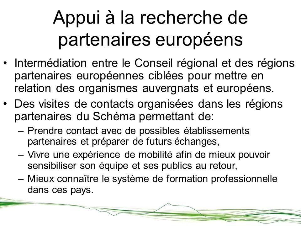 Intermédiation entre le Conseil régional et des régions partenaires européennes ciblées pour mettre en relation des organismes auvergnats et européens.
