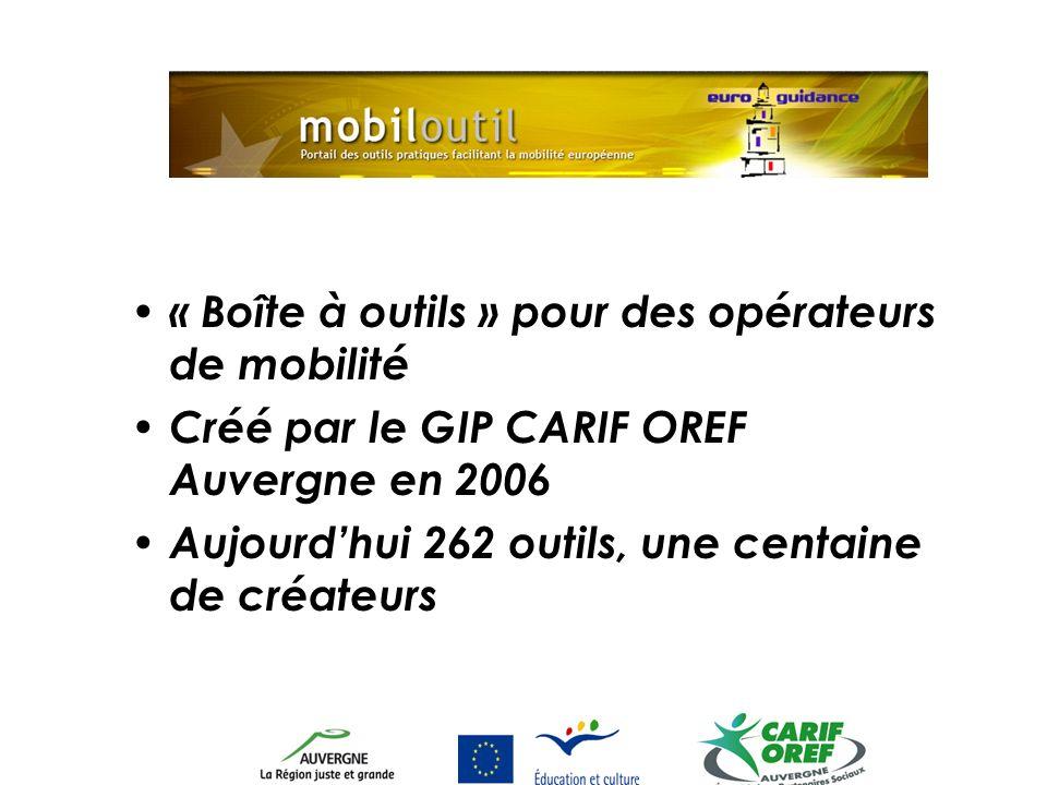 « Boîte à outils » pour des opérateurs de mobilité Créé par le GIP CARIF OREF Auvergne en 2006 Aujourdhui 262 outils, une centaine de créateurs