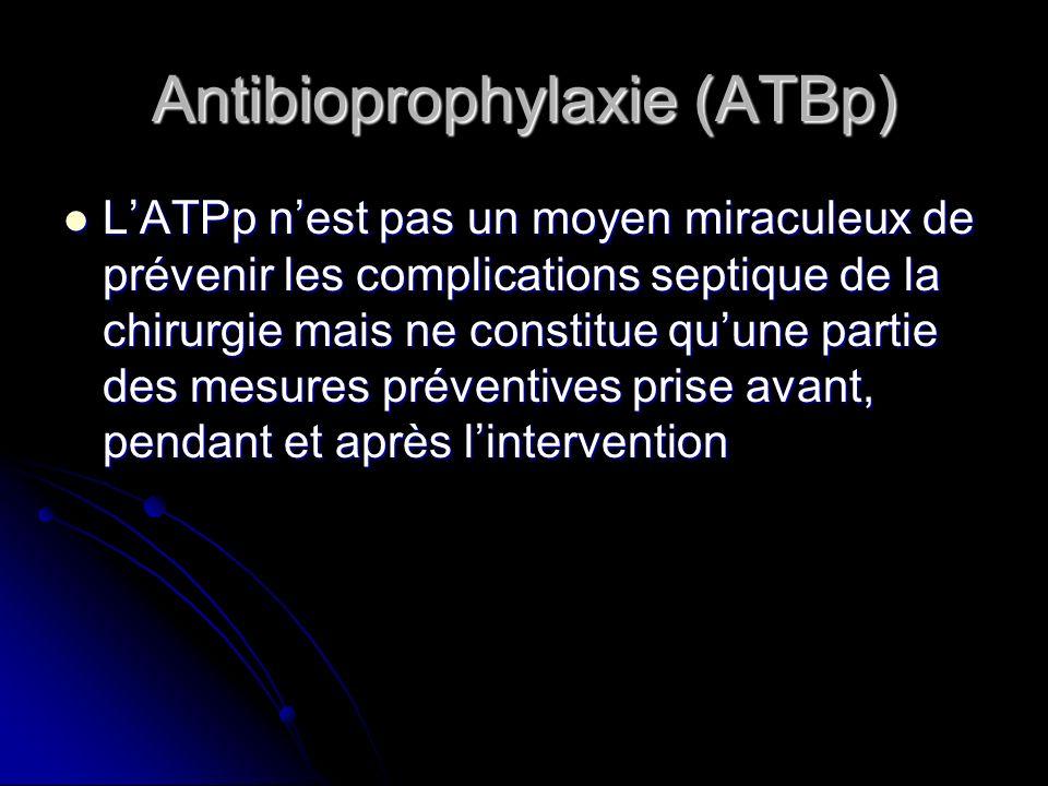 Antibioprophylaxie (ATBp) LATPp nest pas un moyen miraculeux de prévenir les complications septique de la chirurgie mais ne constitue quune partie des
