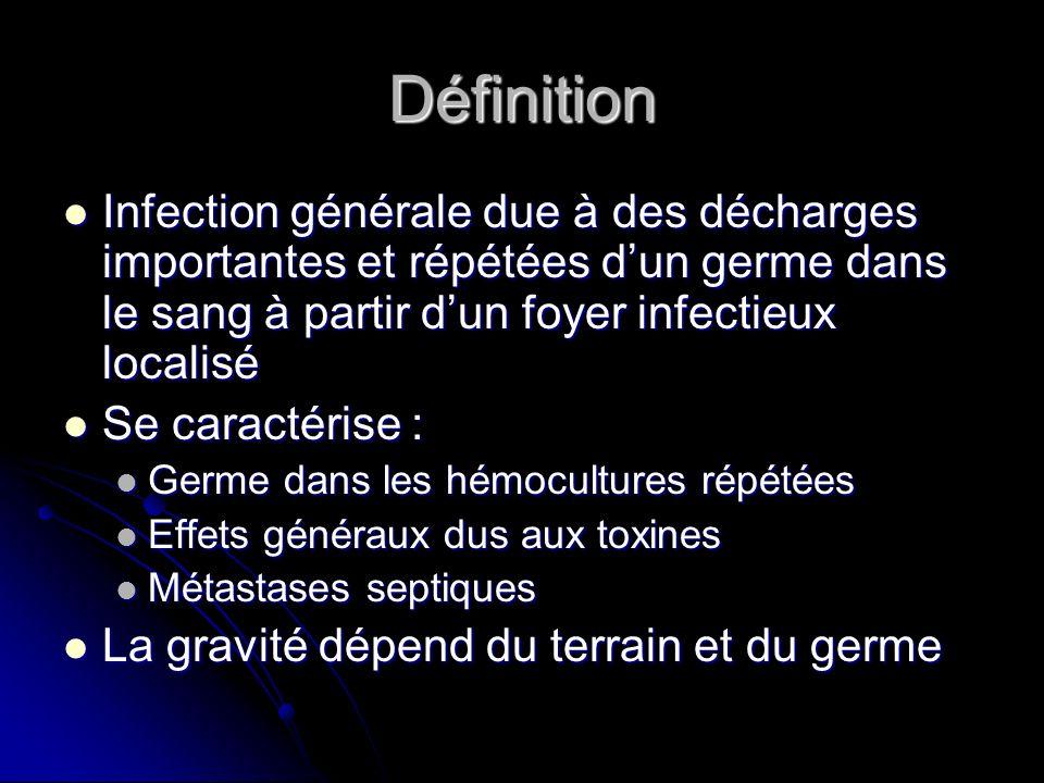 Définition Infection générale due à des décharges importantes et répétées dun germe dans le sang à partir dun foyer infectieux localisé Infection géné