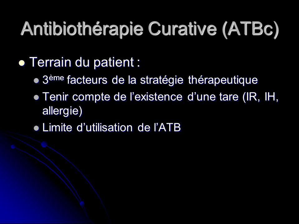 Antibiothérapie Curative (ATBc) Terrain du patient : Terrain du patient : 3 ème facteurs de la stratégie thérapeutique 3 ème facteurs de la stratégie