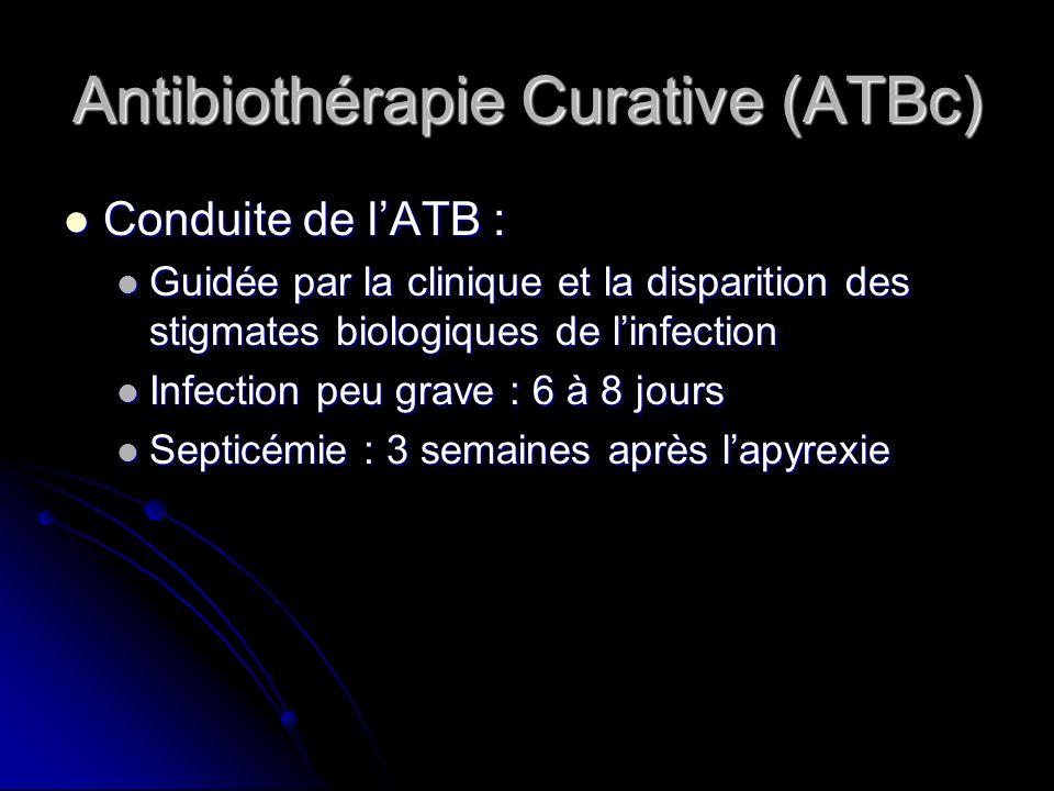 Antibiothérapie Curative (ATBc) Conduite de lATB : Conduite de lATB : Guidée par la clinique et la disparition des stigmates biologiques de linfection