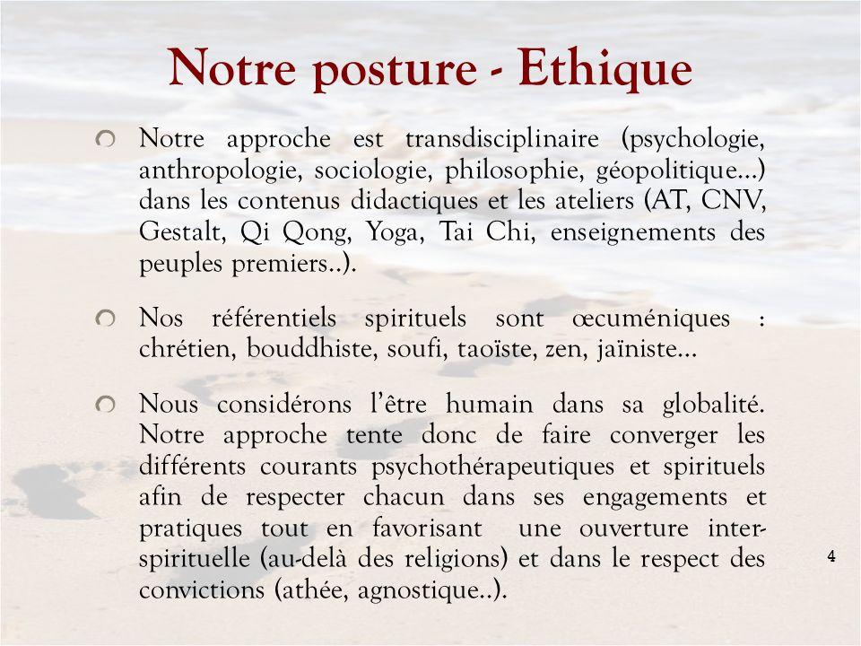 Notre posture - Ethique Notre approche est transdisciplinaire (psychologie, anthropologie, sociologie, philosophie, géopolitique…) dans les contenus d