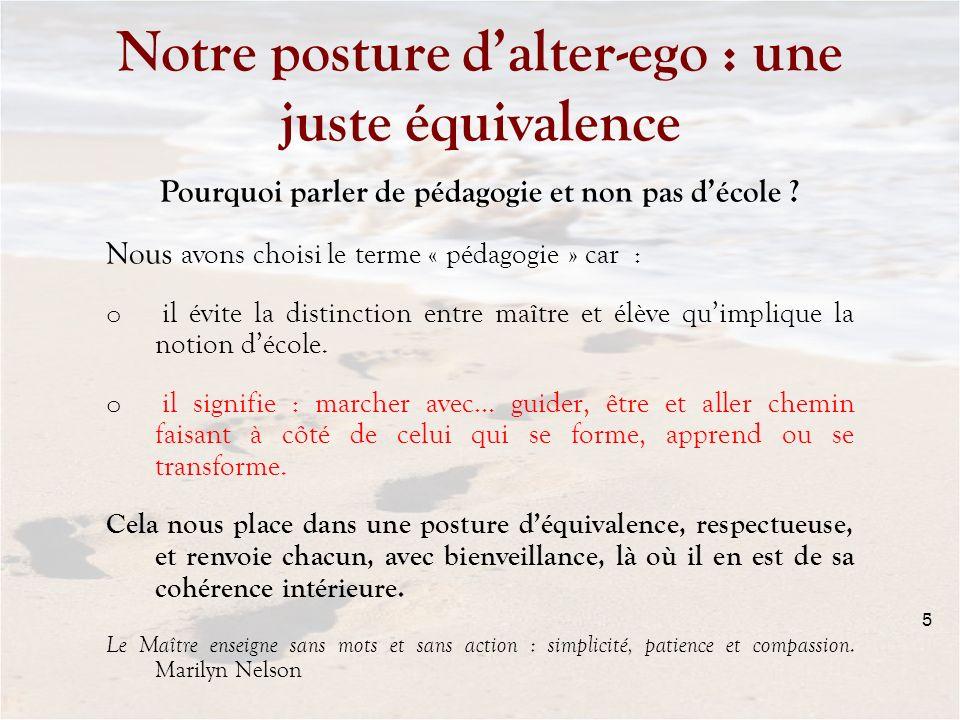 Notre posture dalter-ego : une juste équivalence Pourquoi parler de pédagogie et non pas décole ? Nous avons choisi le terme « pédagogie » car : o il