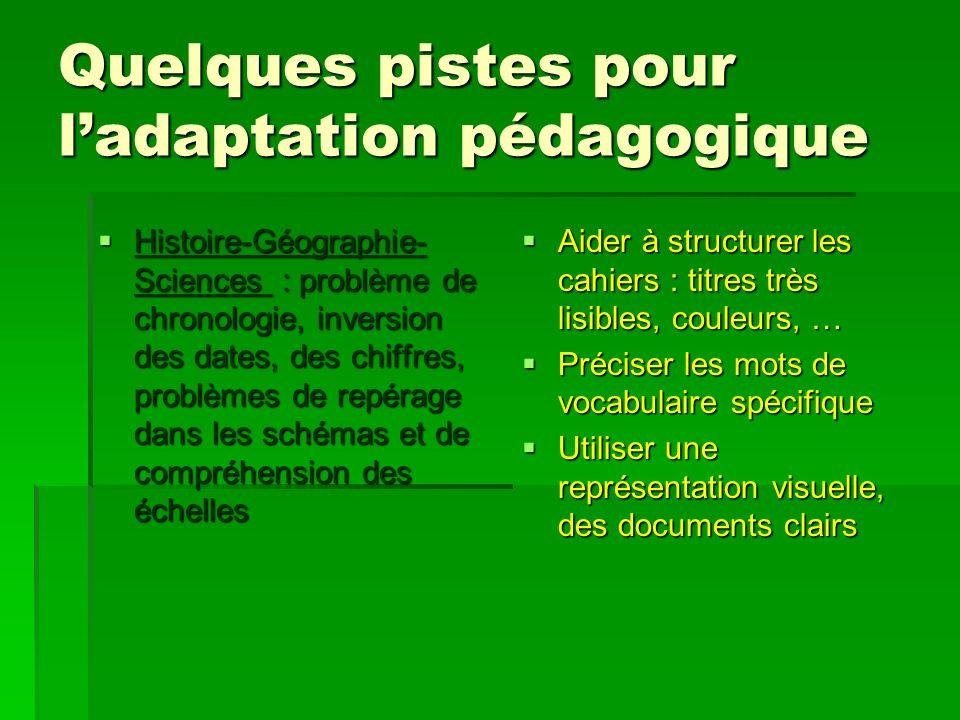 Quelques pistes pour ladaptation pédagogique Histoire-Géographie- Sciences : problème de chronologie, inversion des dates, des chiffres, problèmes de