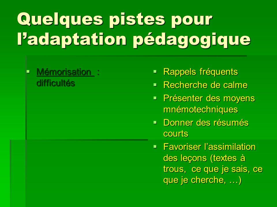 Quelques pistes pour ladaptation pédagogique Mémorisation : difficultés Mémorisation : difficultés Rappels fréquents Rappels fréquents Recherche de ca