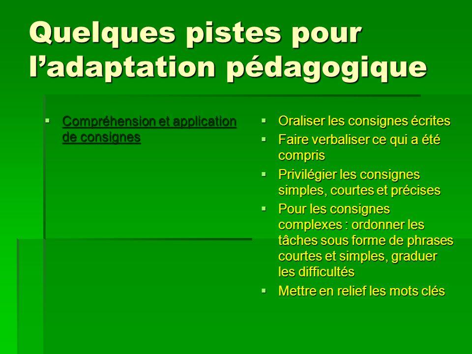 Quelques pistes pour ladaptation pédagogique Compréhension et application de consignes Compréhension et application de consignes Oraliser les consigne