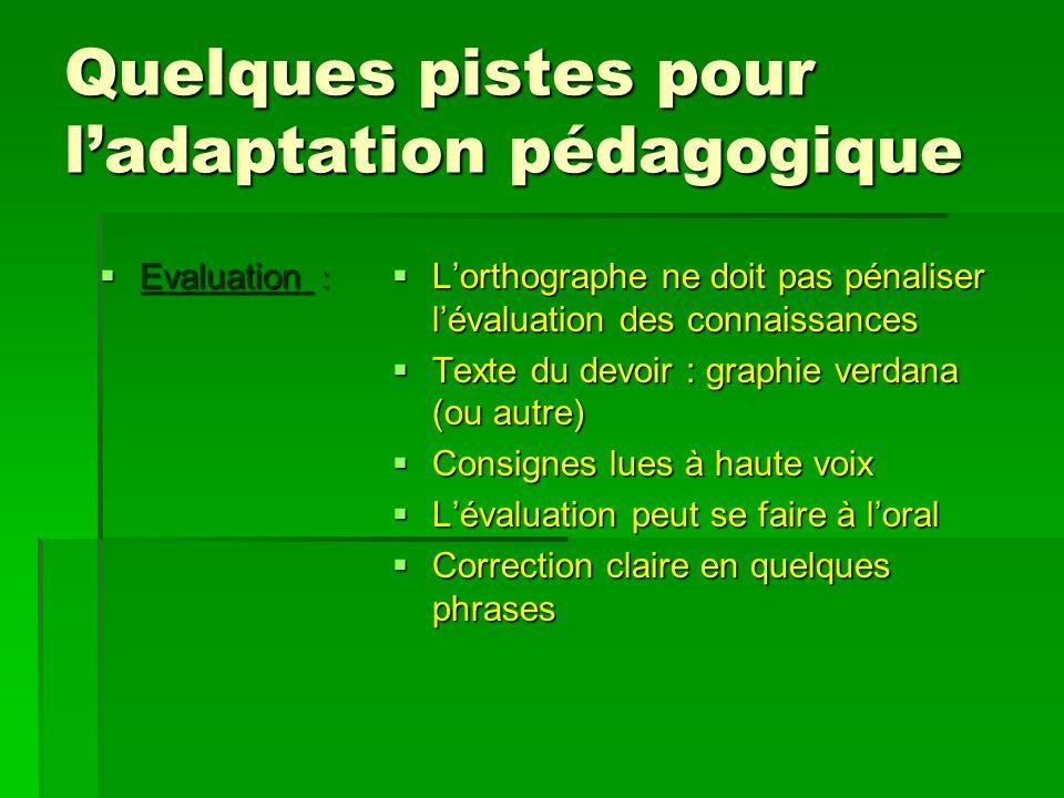 Quelques pistes pour ladaptation pédagogique Evaluation : Evaluation : Lorthographe ne doit pas pénaliser lévaluation des connaissances Lorthographe n