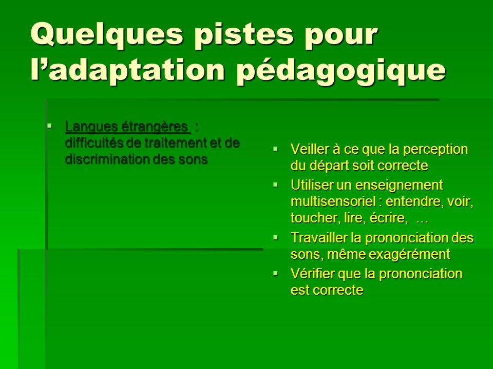 Quelques pistes pour ladaptation pédagogique Langues étrangères : difficultés de traitement et de discrimination des sons Langues étrangères : difficu