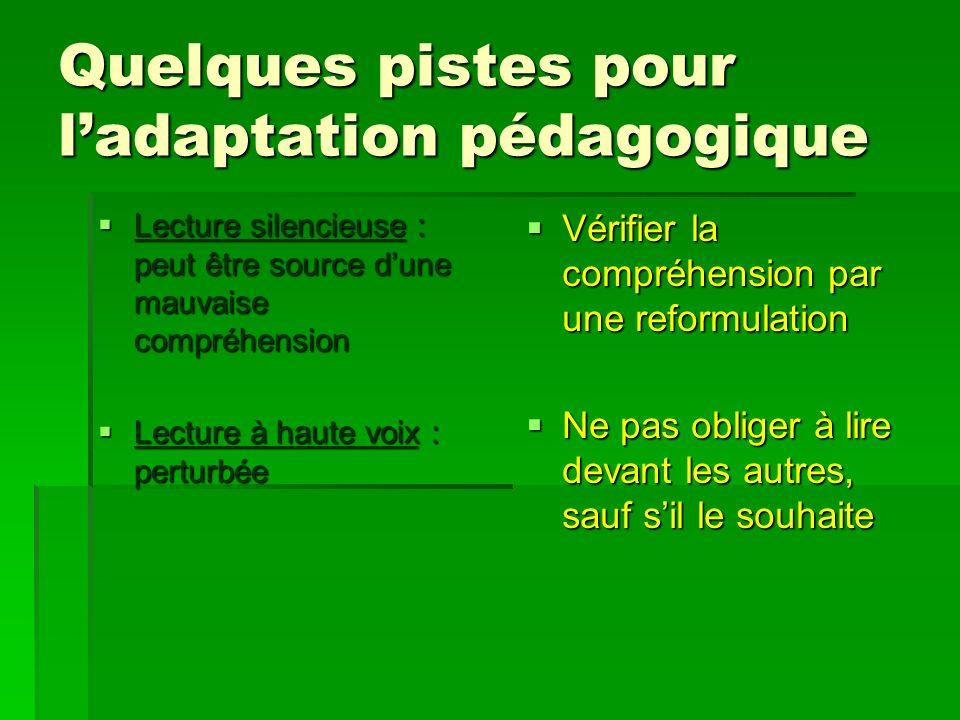 Quelques pistes pour ladaptation pédagogique Lecture silencieuse : peut être source dune mauvaise compréhension Lecture silencieuse : peut être source