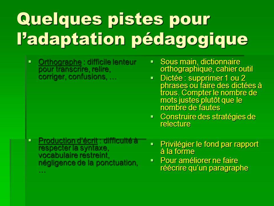 Quelques pistes pour ladaptation pédagogique Orthographe : difficile lenteur pour transcrire, relire, corriger, confusions, … Orthographe : difficile