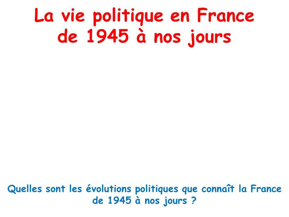 La vie politique en France de 1945 à nos jours Quelles sont les évolutions politiques que connaît la France de 1945 à nos jours ?