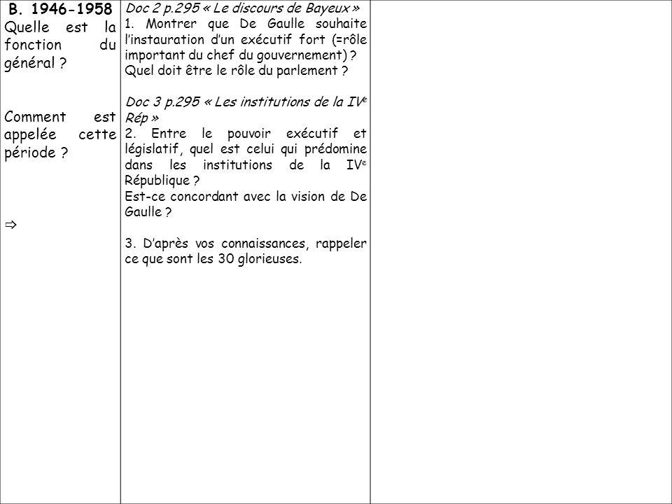 B. 1946-1958 Quelle est la fonction du général ? Comment est appelée cette période ? Doc 2 p.295 « Le discours de Bayeux » 1. Montrer que De Gaulle so