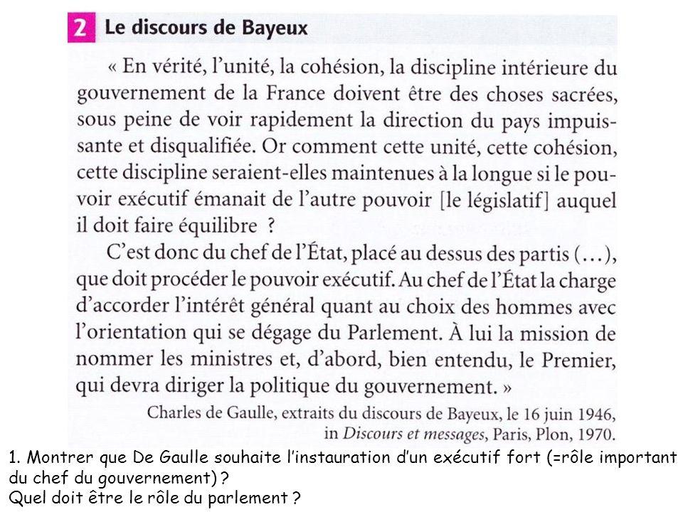 1. Montrer que De Gaulle souhaite linstauration dun exécutif fort (=rôle important du chef du gouvernement) ? Quel doit être le rôle du parlement ?