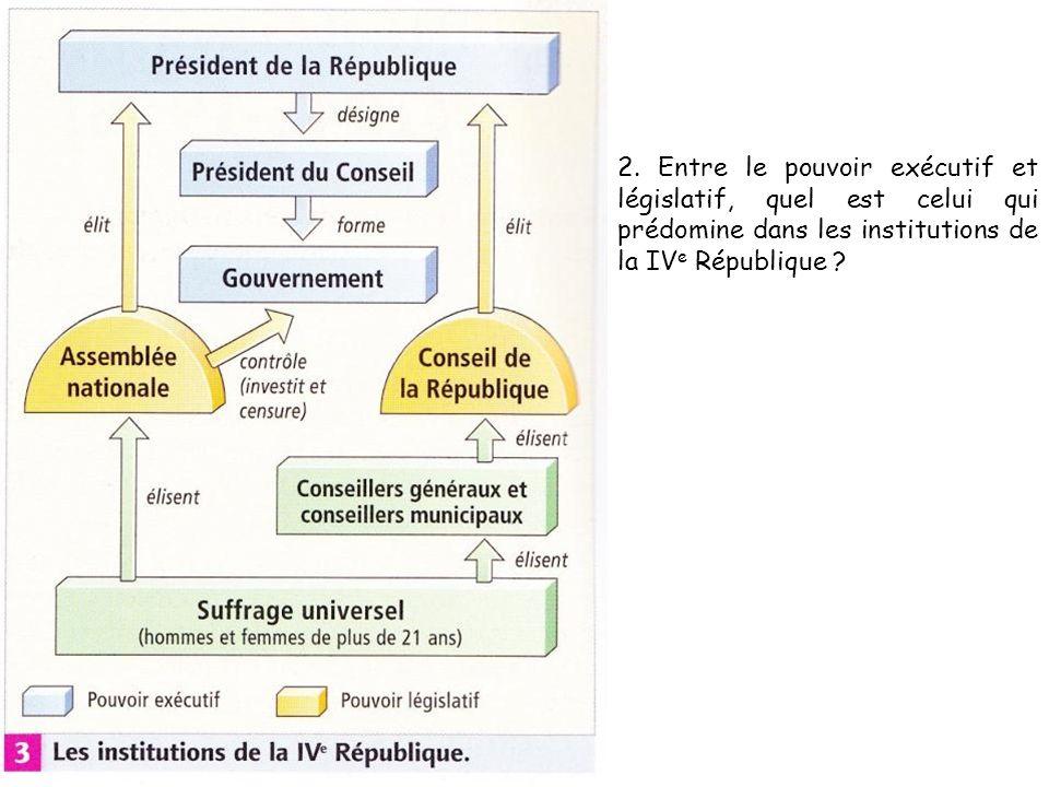 2. Entre le pouvoir exécutif et législatif, quel est celui qui prédomine dans les institutions de la IV e République ?