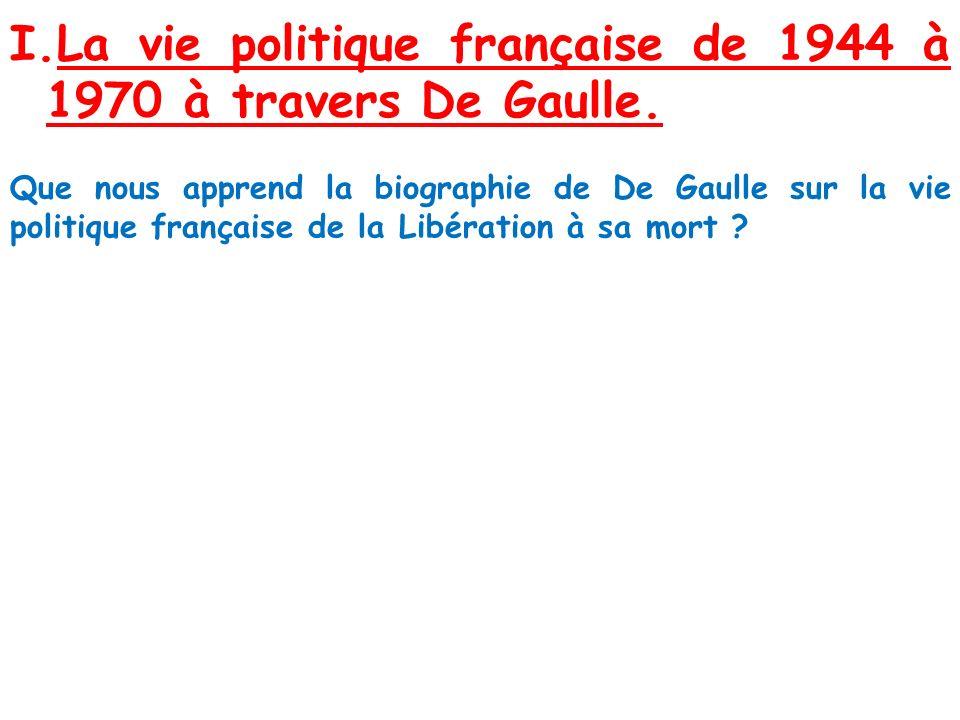 I.La vie politique française de 1944 à 1970 à travers De Gaulle. Que nous apprend la biographie de De Gaulle sur la vie politique française de la Libé