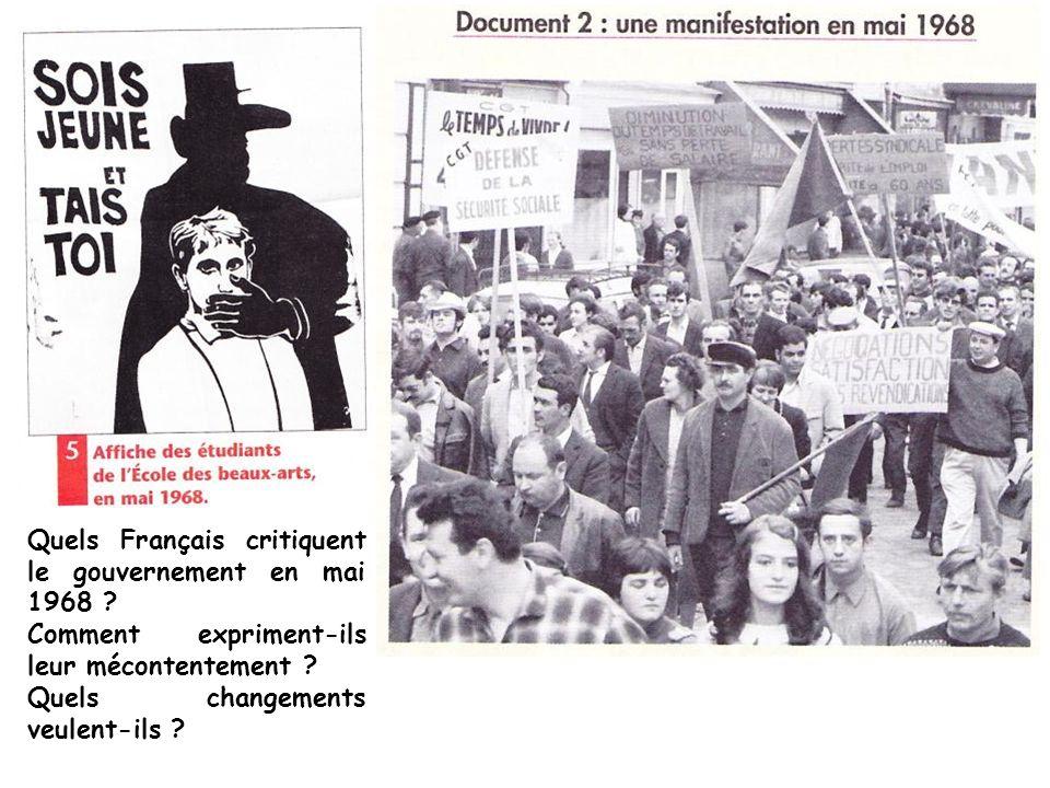 Quels Français critiquent le gouvernement en mai 1968 ? Comment expriment-ils leur mécontentement ? Quels changements veulent-ils ?