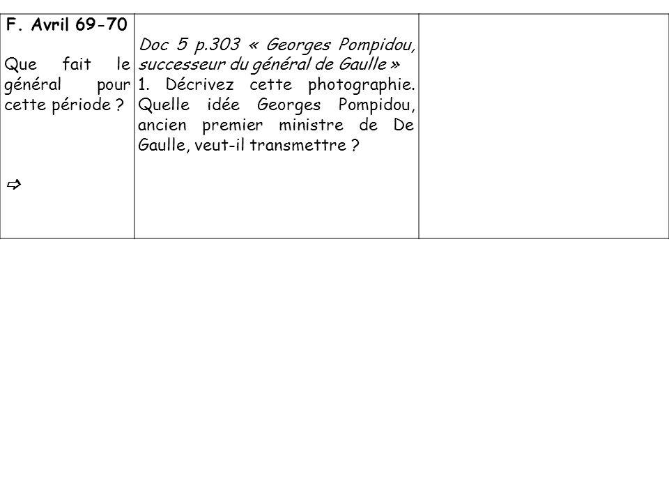 F. Avril 69-70 Que fait le général pour cette période ? Doc 5 p.303 « Georges Pompidou, successeur du général de Gaulle » 1. Décrivez cette photograph