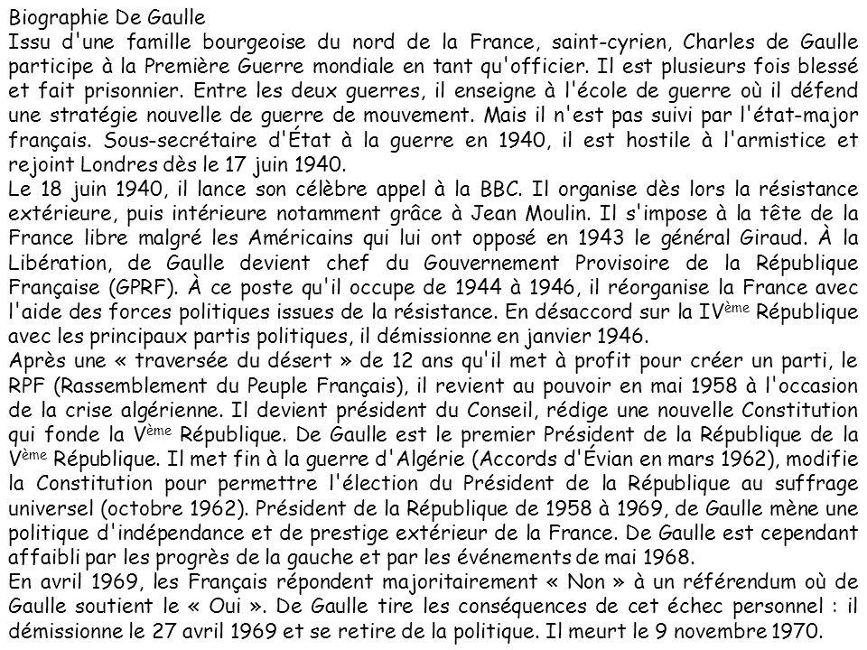 Biographie De Gaulle Issu d'une famille bourgeoise du nord de la France, saint-cyrien, Charles de Gaulle participe à la Première Guerre mondiale en ta