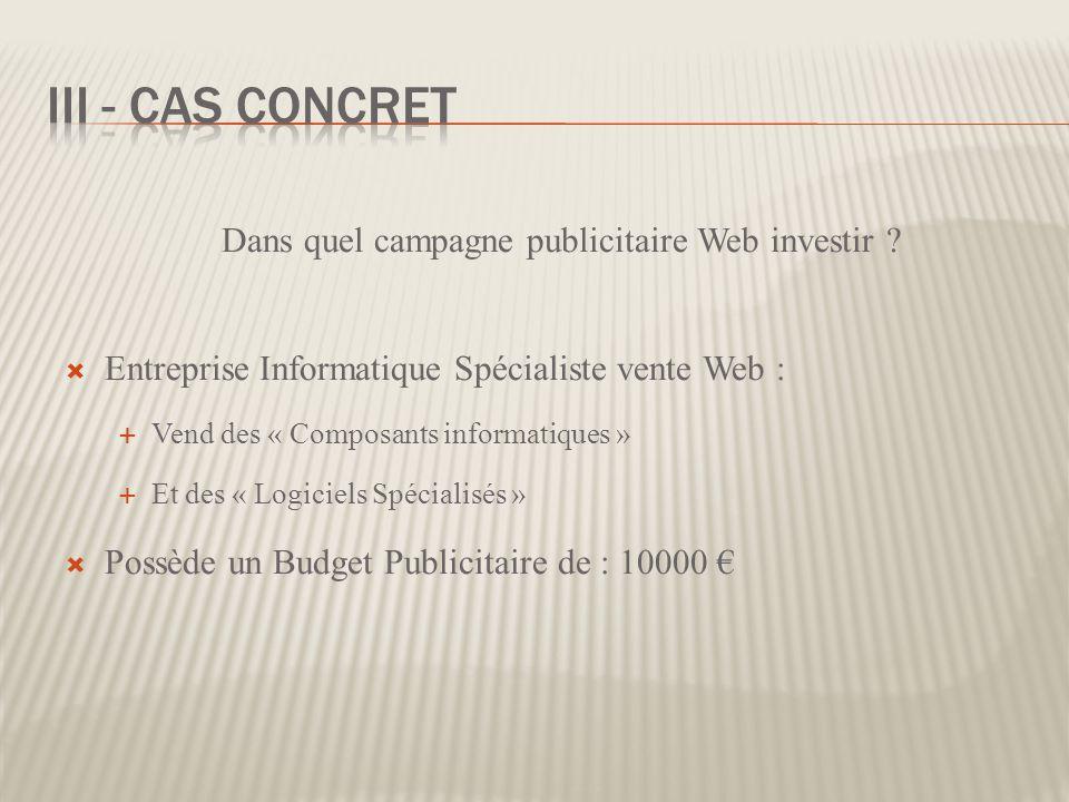 Dans quel campagne publicitaire Web investir ? Entreprise Informatique Spécialiste vente Web : Vend des « Composants informatiques » Et des « Logiciel