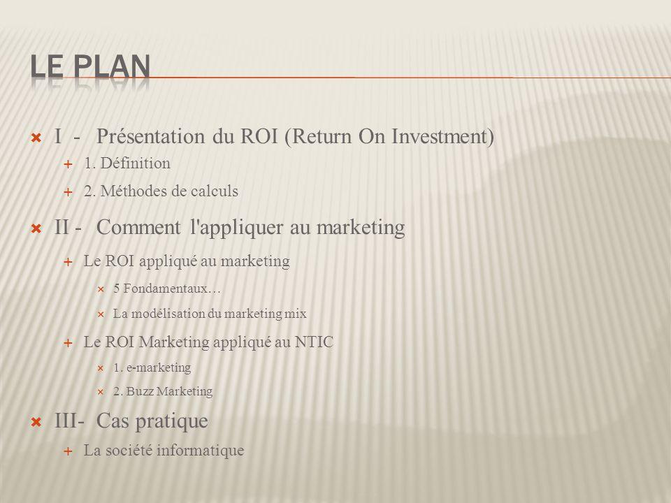 I -Présentation du ROI (Return On Investment) 1. Définition 2. Méthodes de calculs II -Comment l'appliquer au marketing Le ROI appliqué au marketing 5