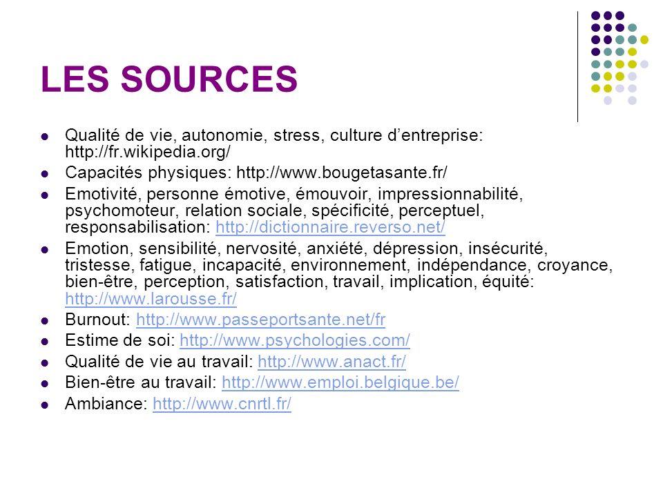 LES SOURCES Qualité de vie, autonomie, stress, culture dentreprise: http://fr.wikipedia.org/ Capacités physiques: http://www.bougetasante.fr/ Emotivit