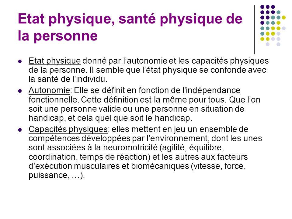 Etat physique, santé physique de la personne Etat physique donné par lautonomie et les capacités physiques de la personne. Il semble que létat physiqu