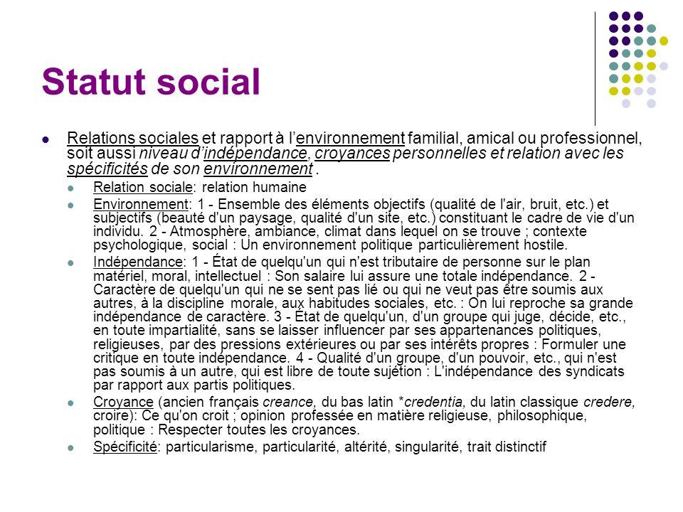 Statut social Relations sociales et rapport à lenvironnement familial, amical ou professionnel, soit aussi niveau dindépendance, croyances personnelle