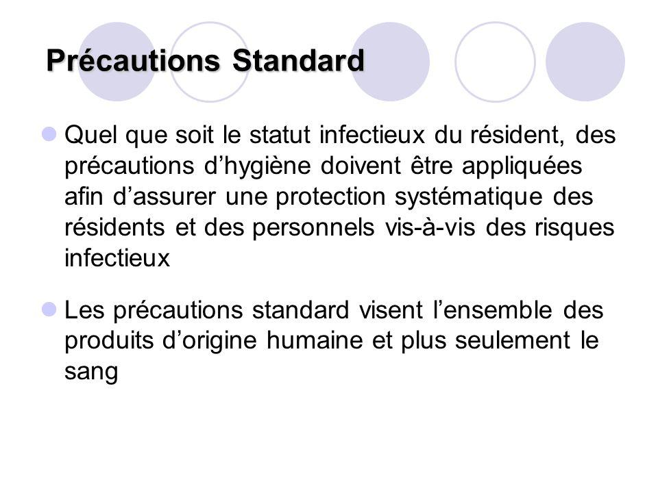 Précautions Standard Précautions Standard Quel que soit le statut infectieux du résident, des précautions dhygiène doivent être appliquées afin dassur