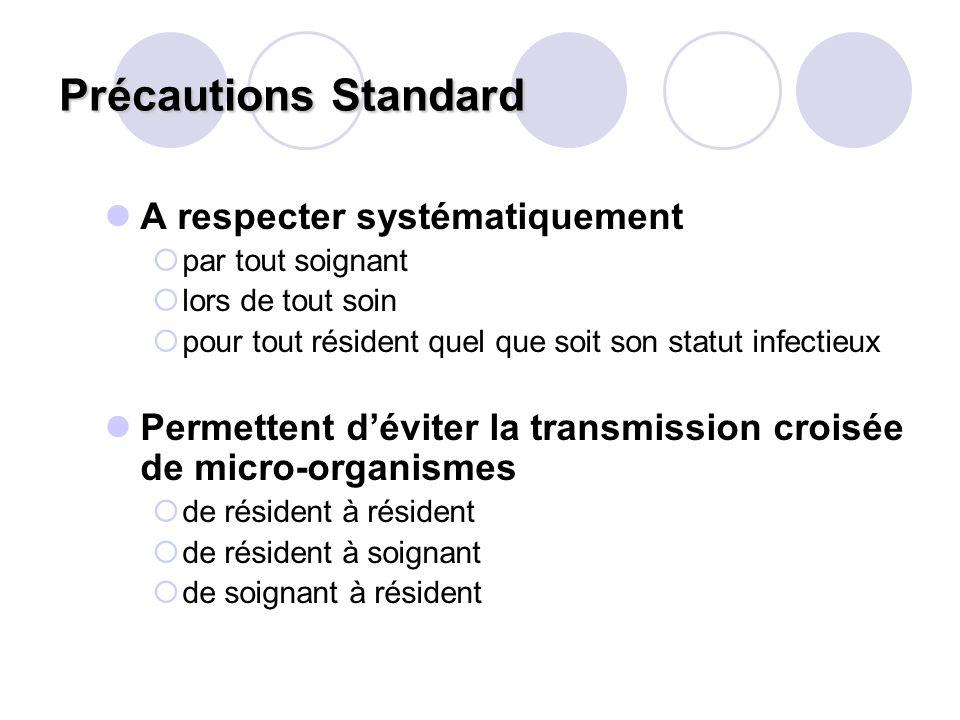 Précautions Standard Précautions Standard A respecter systématiquement par tout soignant lors de tout soin pour tout résident quel que soit son statut