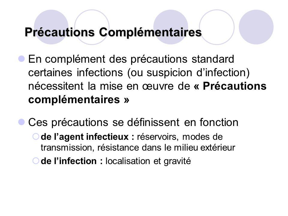 Précautions Complémentaires En complément des précautions standard certaines infections (ou suspicion dinfection) nécessitent la mise en œuvre de « Pr