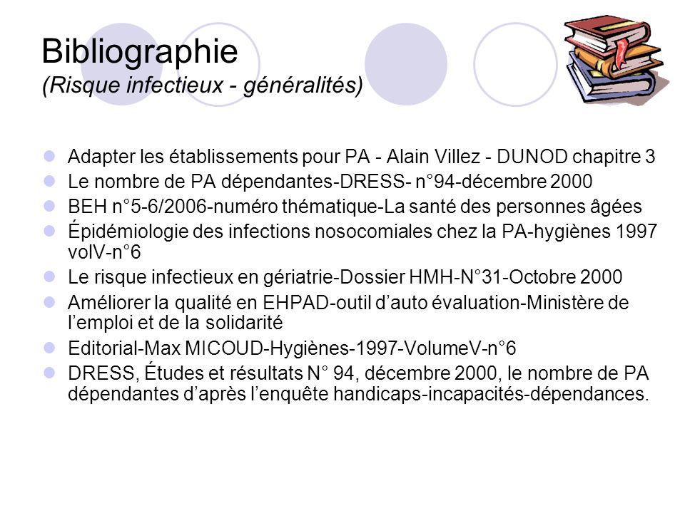 Bibliographie (Risque infectieux - généralités) Adapter les établissements pour PA - Alain Villez - DUNOD chapitre 3 Le nombre de PA dépendantes-DRESS