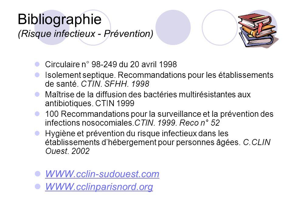 Bibliographie (Risque infectieux - Prévention) Circulaire n° 98-249 du 20 avril 1998 Isolement septique. Recommandations pour les établissements de sa
